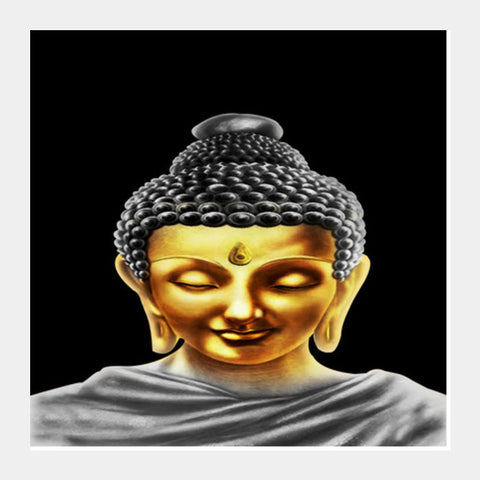 Square Art Prints, Gautam Buddha Golden Square Art Prints | Artist : Pranit Jaiswal, - PosterGully