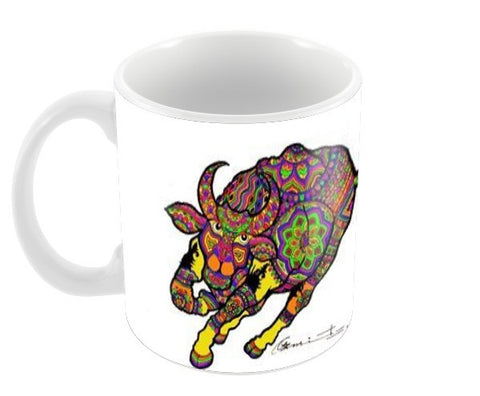 colored bull Coffee Mugs | Artist : amit kumar
