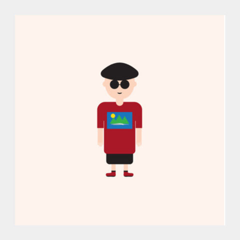 Cartoon Guy With Glasses Square Art Prints PosterGully Specials