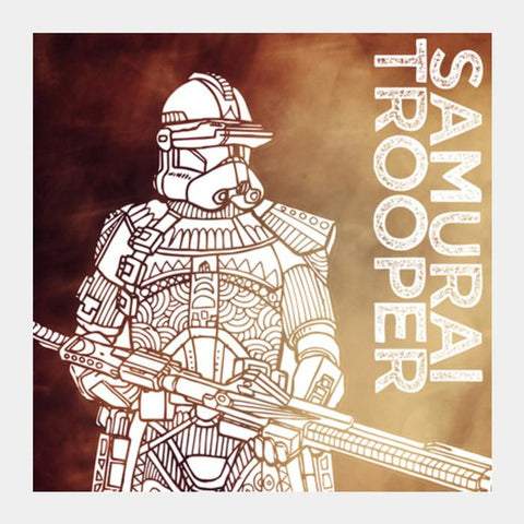 Samurai Trooper: Star Wars Inspired Original Artwork, Black, Red, Duotone, Bold, Bright, Pop Art, Trendy Graphic Art, Fan Art, Intricate, Graphic Poster, Minimalist Art, Trending Designs Square Art Prints PosterGully Specials