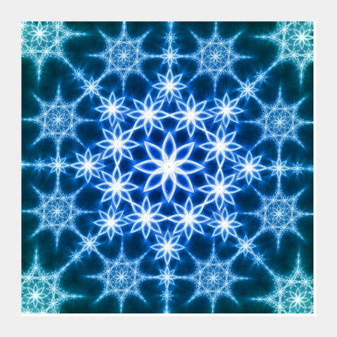 Blue Fractals Square Art Prints PosterGully Specials