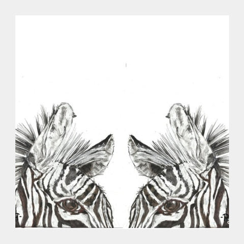 two zebras Square Art Prints | Artist : Papo Mukherjee
