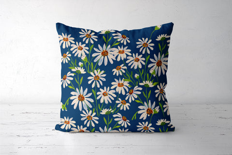 White Daisy Flowers Artwork Painted Floral Pattern Cushion Covers | Artist : Seema Hooda