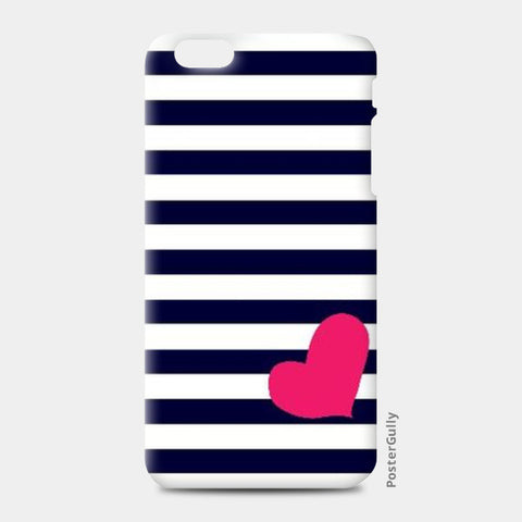 iPhone 6 Plus / 6s Plus Cases, Heart & Stripes Blue iPhone 6 Plus / 6s Plus Case | Artist: Shweta Paryani, - PosterGully