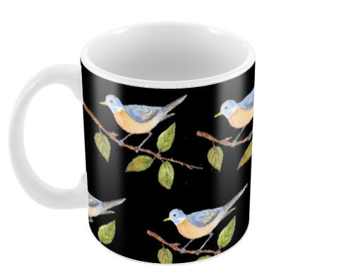 Cute Bird Pattern Black Coffee Mugs | Artist : Seema Hooda
