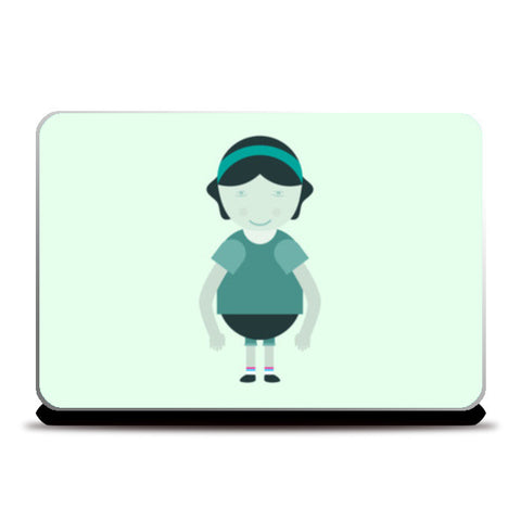 Happy School Girl Cartoon Laptop Skins | Artist : Mani Selvam
