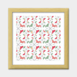 Flowers Retro Shapes Geometric Pattern Premium Square Italian Wooden Frames | Artist : Designerchennai
