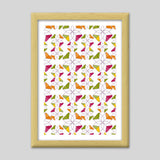 Flowers Retro Shapes Geometric Pattern On Multicolor Premium Italian Wooden Frames | Artist : Designerchennai