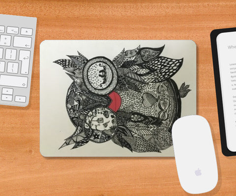 The wise owl, black and white, zentangle, quirky Mousepad | Artist : Priyanka Singhania