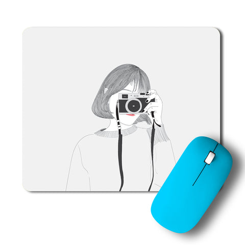 Cute Photographer Clicking Picture Artwork Mousepad
