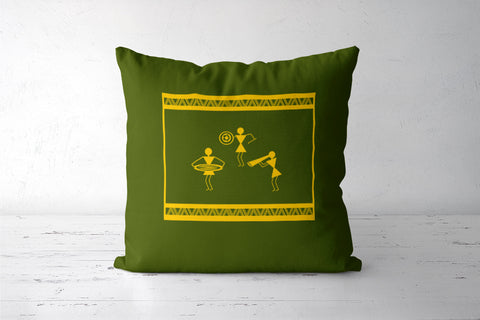 beautiful warli folk art creations Cushion Covers | Artist : Niharika Shenoy