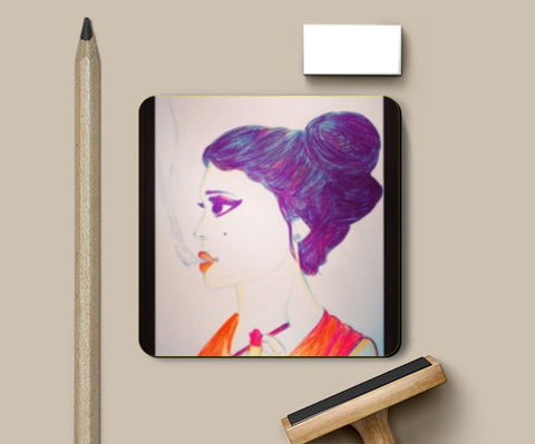 Coasters, Smoking Lady Coaster | Artist: Abhiveer, - PosterGully