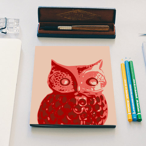 Abstract Owl Bird Red Notebook | Artist : Keshava Shukla