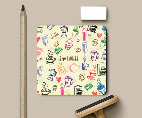 Coasters, I Love Coffee Coaster | Artist: Pratyusha Subramaniam, - PosterGully