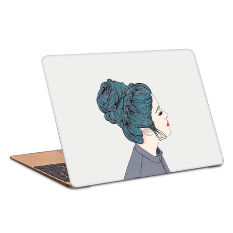 Calm Composed Girl In Deep Thoughts Artwork Laptop Skin