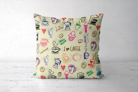 I Love Coffee Cushion Cover| Artist: Pratyusha Subramaniam
