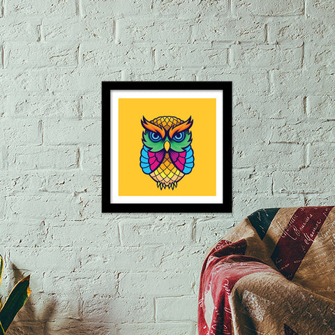 Colorful Owl Premium Square Italian Wooden Frames | Artist : Inderpreet Singh