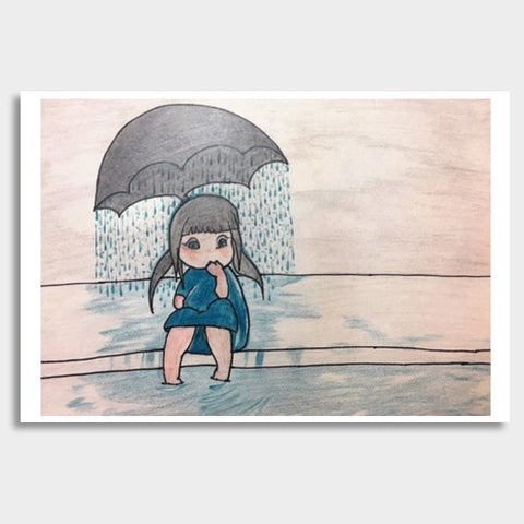 Sad Girl | Pencil Sketch Giant Poster | Artist : Nandini Rawat