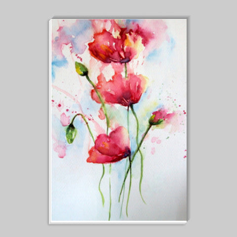 Abstract Poppies Floral Watercolor Illustration Stick Ons | Artist : Seema Hooda