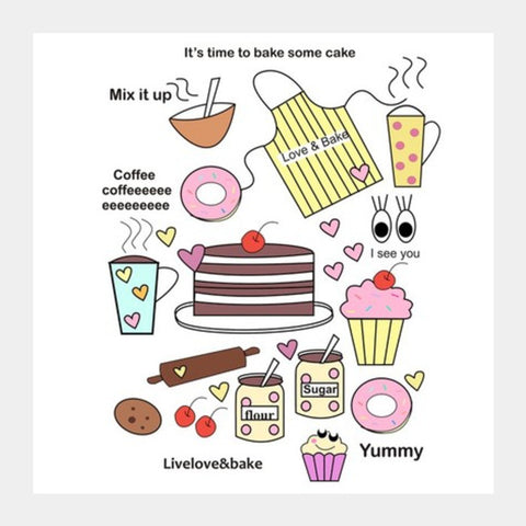 baking = happiness Square Art Prints | Artist : mytablecreations