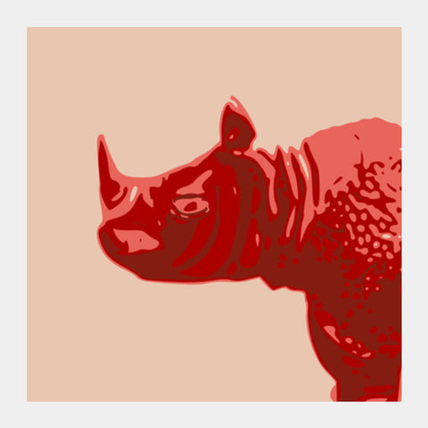Square Art Prints, Abstract Rhino Red Square Art | Artist : Keshava Shukla, - PosterGully