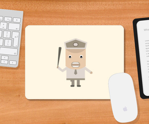 Cartoon policeman with stick Mousepad | Artist : Mani Selvam