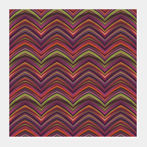 Vibrant Colorful Retro Abstract Chevron Pattern Zig Zag Background Square Art Prints PosterGully Specials