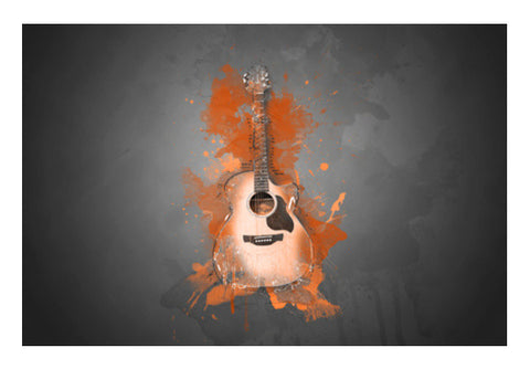 Guitar Splash – Orange Wall Art  | Artist : Darshan Gajara's Artwork