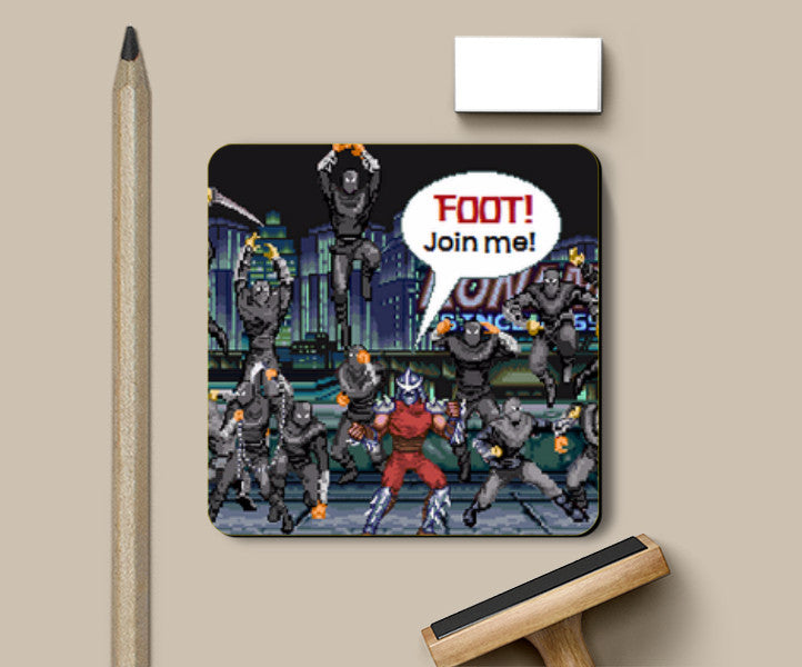 Shredder And The Foot Pixel Art Colour Coaster Ehraz Anis