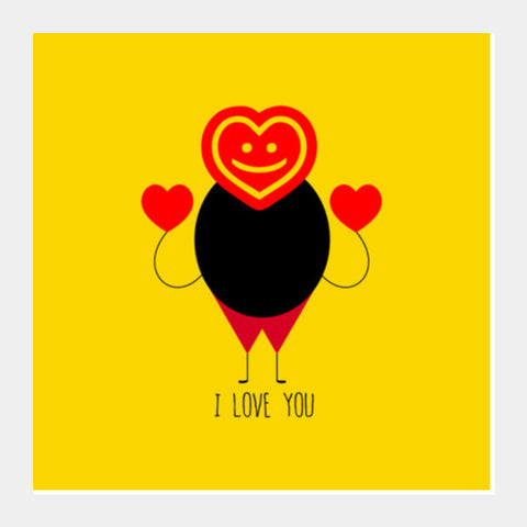 Funny Fat Stick Man With Hearts Square Art Prints PosterGully Specials
