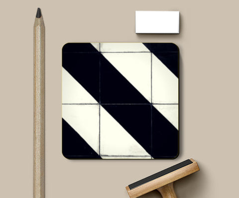 Black and White Tile Stripe Coasters | Artist : Aditya Gupta