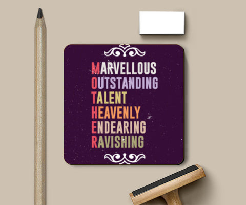 Marvellous meaning of mother letters Coasters | Artist : Designerchennai
