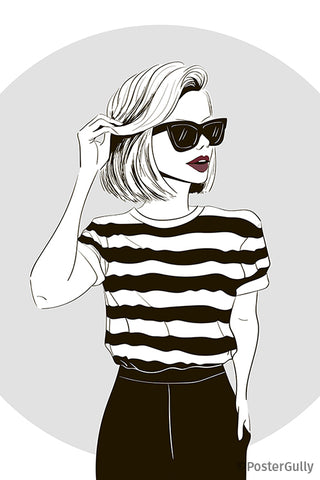 Fashionista Striped Top Minimal Artwork