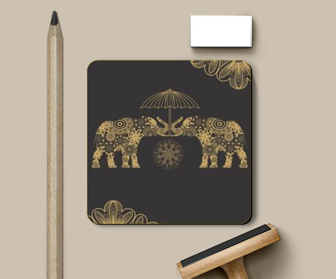 Traditional Gold Elephant Coasters | Artist : Tiny Dots