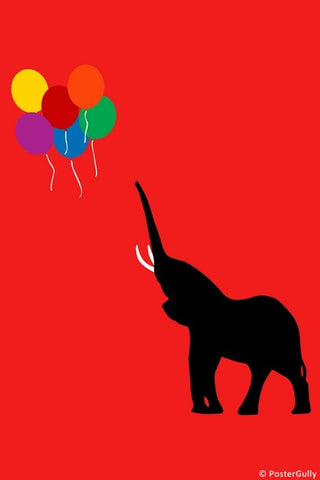 Wall Art, Elephant And Balloons, - PosterGully