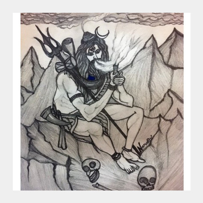 Shiva with chillum on mountains pencil sketch square art prints artist nandini
