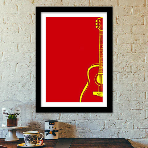 Love Music | Guitar | RED Premium Italian Wooden Frames | Artist : Miraculous