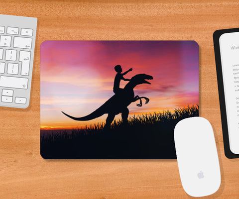 BOY WITH DINO Mousepad | Artist : Ayush Yaduvanshi