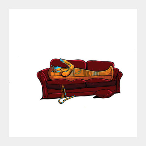 Couch Mummy Square Art Prints | Artist : Malay Jain