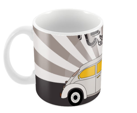 Retro vintage car on gray Coffee Mugs | Artist : Designerchennai