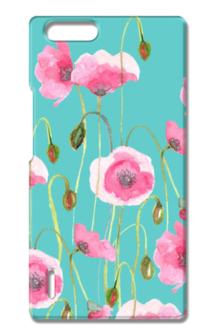 Beautiful Painted Pink Poppy Flowers Mint Floral Design Huawei Honor 6X Cases | Artist : Seema Hooda