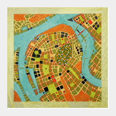 Square Art Prints, imaginary map of koblenz Square Art Prints | Artist : federico cortese, - PosterGully