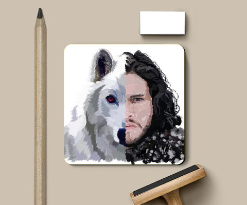 Coasters, Jon Snow and Ghost Captioned Coaster | Artist: Armaan Sandhu, - PosterGully