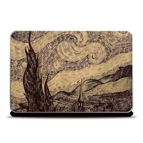 Starry night Van Gogh sketch Laptop Skins | Artist : Sukanya Chakraborty