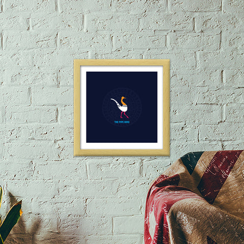 THE PIPE BIRD Premium Square Italian Wooden Frames | Artist : Satish Moladiya