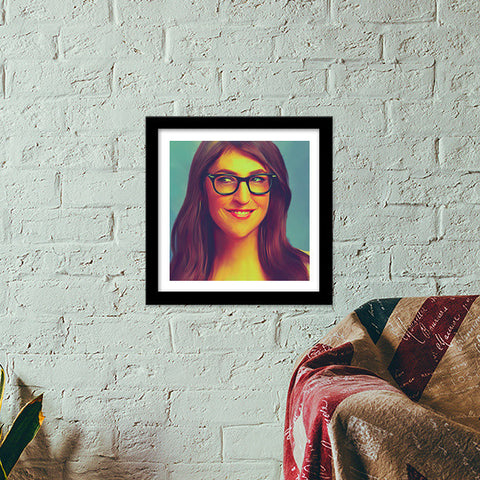 Mayim Bialik Premium Square Italian Wooden Frames | Artist : Delusion