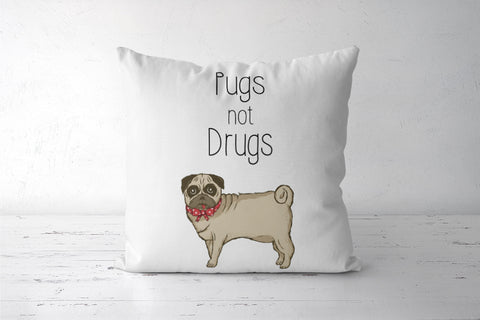 Pugs not Drugs Cute Cushion Cover  | Artist : Aditya Golechha