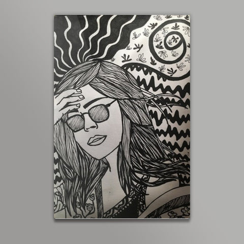 Summer Girl Spring Break Sketch Metal Prints | Artist : nandita sharma
