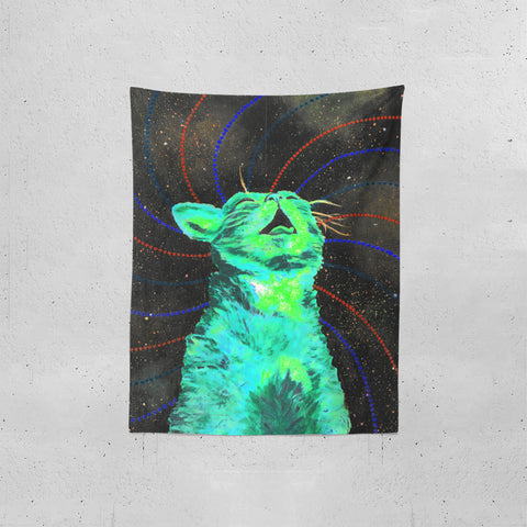 Dark Psy Cosmic Kitty  Tapestries | Artist : Aashna Aasif