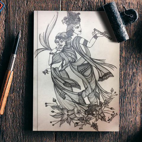 Radha krishna pencil sketch notebook artist nandini rawat